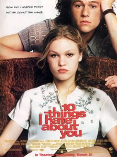 10 things I hate about you, shakespeare adaptation, The Taming of the Shrew, Heath Ledger
