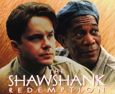 Crop of the movie poster for The Shawshank Redemption starring Tim Robbins and Morgan Freeman
