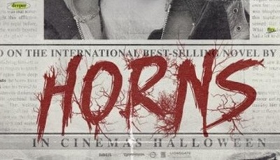 Crop of the Poster for Horns starring Daniel Radcliffe, based on the novel by Joe Hill