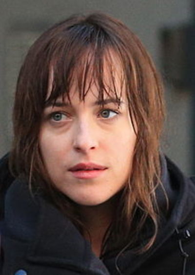 Wikimedia Commons (credit Nigel Horsley) Dakota Johnson on Fifty Shades of Grey set